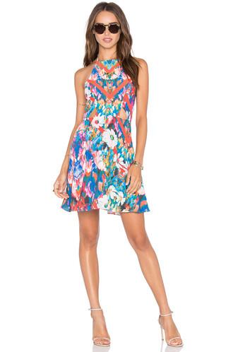 dress halter dress high high neck blue