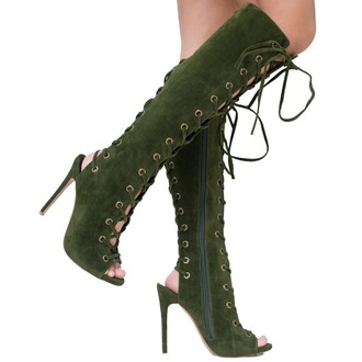shoes boots olive green boots lace up lace up boots knee high knee high boots peep toe boots olive green open toes