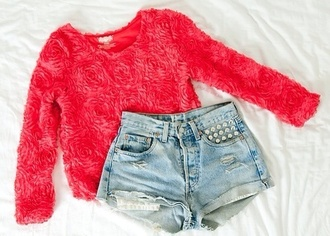 shirt rose rosey pink t-shirt top cute girly nice roses outfit long sleeves blouse red shorts 3d flower pink flower shirt pretty sweater floral floral top lace lace top pretty outfit cute outfits cut off shorts cut offs