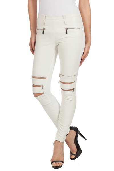 Leather-Effect White Zipper Legging