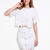 White Short Sleeve Crochet Crop T-shirt - Sheinside.com