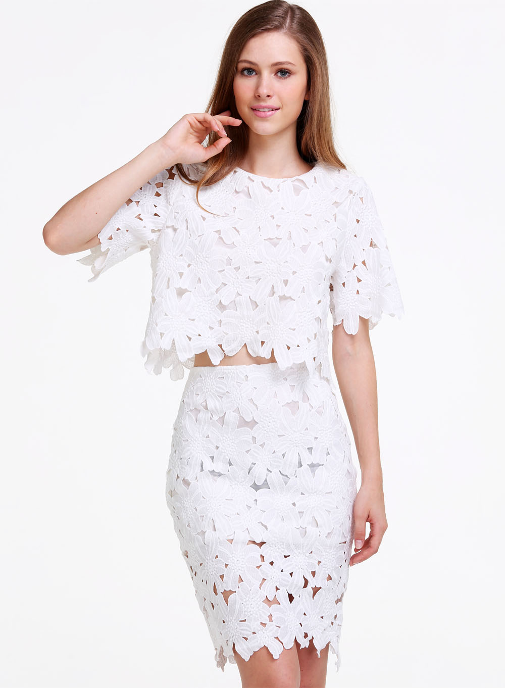 White Short Sleeve Crochet Crop T-shirt - Sheinside.com