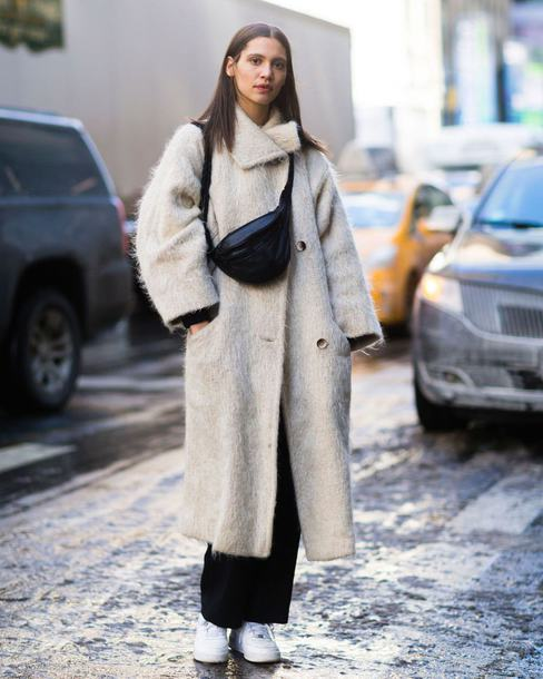 coat tumblr white white coat bag black bag fanny pack pants black pants sneakers white sneakers streetstyle