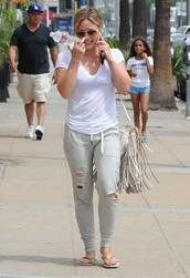 hilary duff,pants,sunglasses,shoes,t-shirt