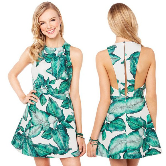 gorgeous green leaf exposed flattering dress back girl