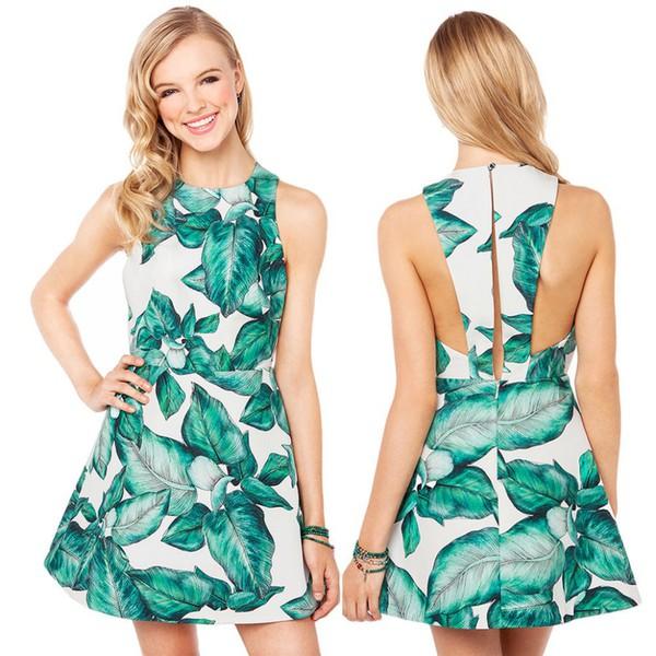 green leaves exposed flattering dress back girl gorgeous