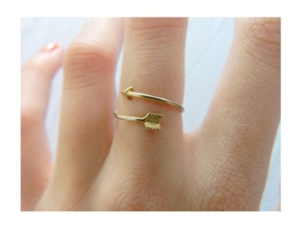 Jewels: arrow, gold ring, tumblr, hipster, ring, underwear ...