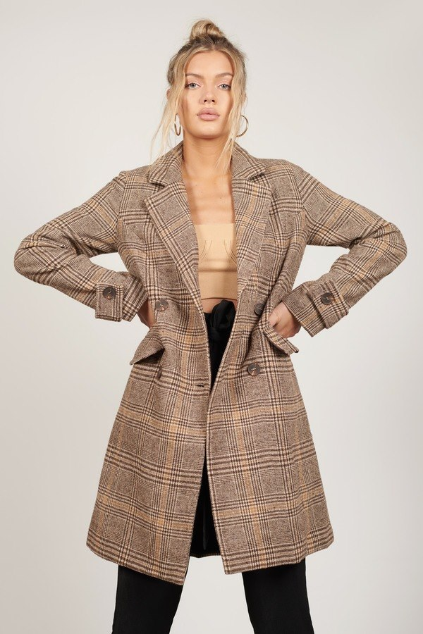 Plaid With Fire Brown Multi Oversized Coat