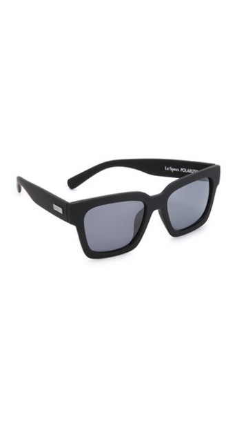 Le Specs Weekend Riot Polarized Sunglasses - Black Rubber/Smoke Mono