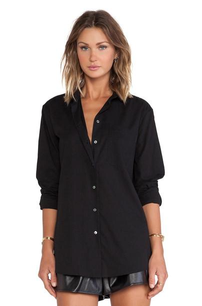 ATM Anthony Thomas Melillo Boyfriend Oversized Dress Shirt in black