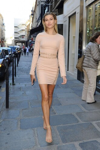 dress nude dress nude hailey baldwin fashion week sandals bodycon dress