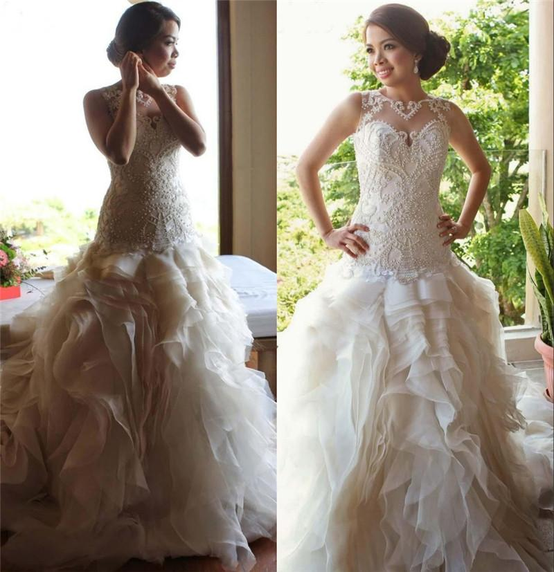 Luxury puffy modest wedding dresses 2015 a line illusion for Plus size illusion wedding dress