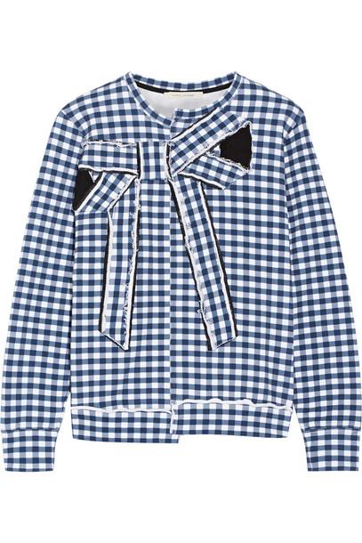 sweatshirt bow embellished cotton gingham blue sweater