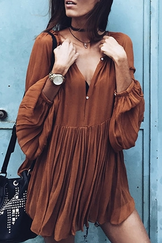 dress fashion style brown long sleeves flowy solid color loose fitting v-neck long sleeves dress boho gypsy