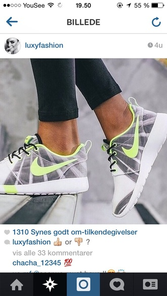 shoes grey grey shoes sneakers nike green light green neon