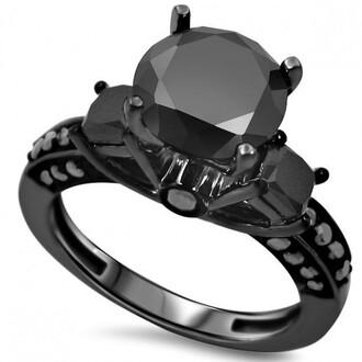jewels black round cut diamond ring black ring three stone engagement ring black gold plated silver ring 14k black gold plated sterling silver black diamond 3 stone engagement ring evolees.com