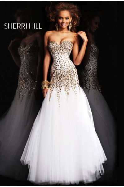 2014 sherri hill 21108 strapless tulle ivory prom dress