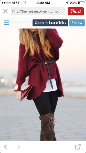 wool shoes burgundy sweater