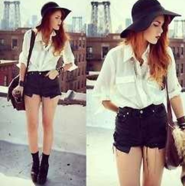 shirt blouse sun hat black shorts bracelets boho indie hipster High waisted shorts black combat boots leather backpack soft grunge