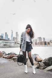 wendy's,lookbook,blogger,top,jacket,t-shirt,bag,shoes,tights,fall outfits,blazer,white boots,handbag