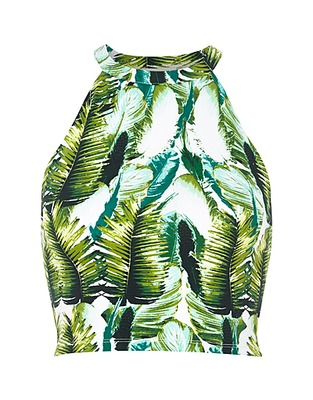 ASOS Fashion Finder | Green tropical palm print crop top