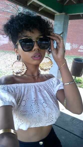 sunglasses black shades top patty mayo pattyeffinmayo tumblr girl septum piercing tumblr outfit fake septum ring