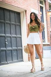 the material girl,blogger,top,shorts,shoes,bag,sunglasses,sandals,platform sandals,green top,tie front crop top,cult gaia bag,summer outfits