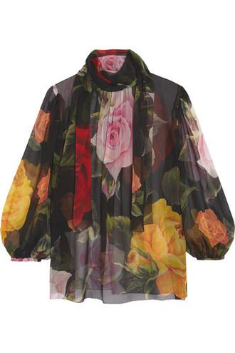 blouse chiffon blouse bow chiffon floral print black silk top