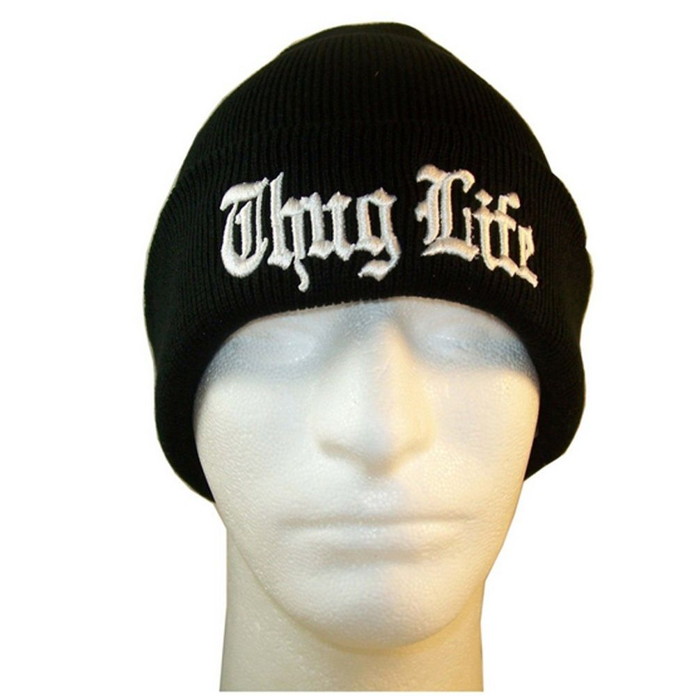 NEW BLACK THUG LIFE 3D EMBROIDERY BEANIE SKULL CAP HIP HOP HAT BLACK