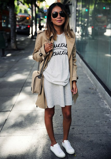 a2f60cba5a9 sincerely jules, blogger, dress, trench coat, quote on it, graphic ...