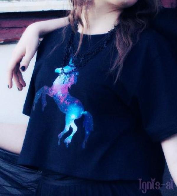 t-shirt unicorn black galaxy print shirt