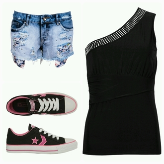tank top shorts shoes noire rose converse all star