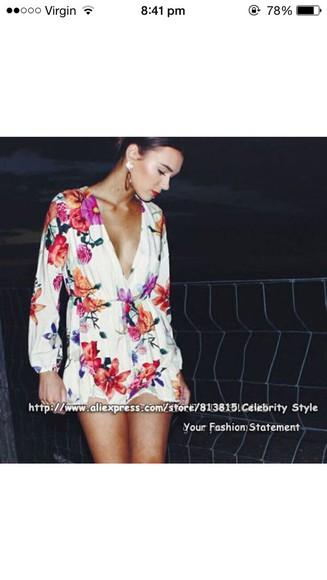 jumpsuit floral v-neck long sleeve