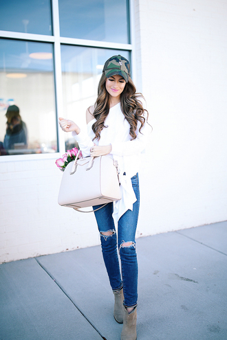 southern curls and pearls blogger shirt jeans hat bag sunglasses shoes jewels make-up cap handbag givenchy bag ankle boots white blouse