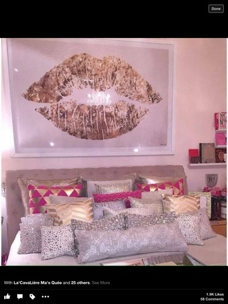 home accessory pillow gold white pink hot pink silver pink and gold painting poster lips bedroom