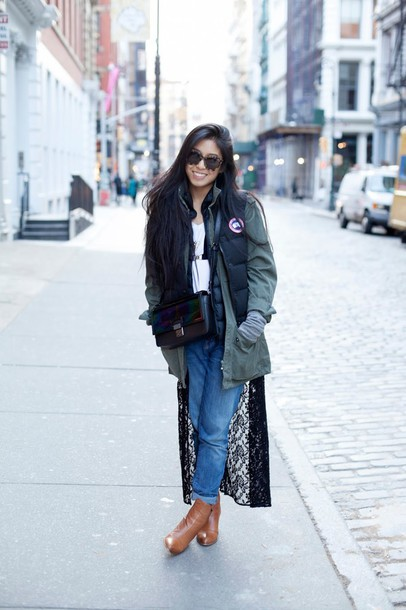 kristenglam blogger down jacket winter outfits underwear jewels jacket jeans shoes bag sunglasses