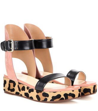hair sandals leather suede black shoes