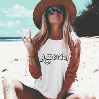 shirt baseball tee top america american text tee tumblr summer yellow mustard t-shirt long sleeves long sleeve shirt long sleeves tee long sleeve tee american flag aesthetic summer top three-quarter sleeves patriotic vintage beach