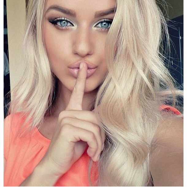make-up girl beautiful fashion blonde hair coral pink blue white make-up hot