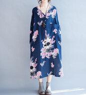 dress,blue dress,long sleeve dress,maxi dress