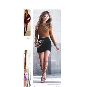 skirt button up skirt black skirt tan shirt heels tan gladiator strappy gladiator heels golden gladiator heels