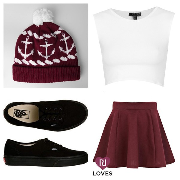beanie burgundy vans of the wall love it ❤️ cute outfits skirt shoes anchor