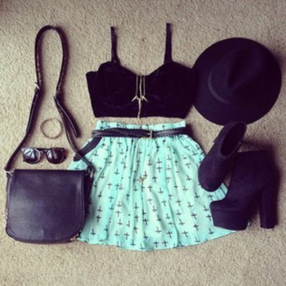 heels high heels top crop tops skirt cross hat bag sunglasses bralette Belt necklace style