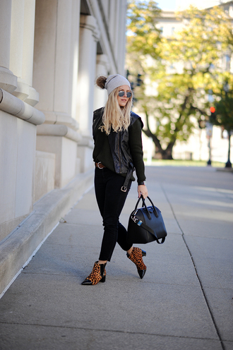 blonde bedhead blogger hat jewels jacket jeans bag sweater shoes beanie leather vest handbag leather jacket animal print ankle boots black jeans givenchy bag