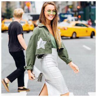jacket nastygal vintage army green army green jacket stars leather streestyle nyfw ootd outfit fashion 36683