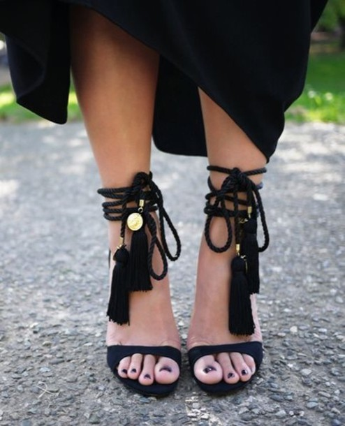 shoes black heels ankle tied