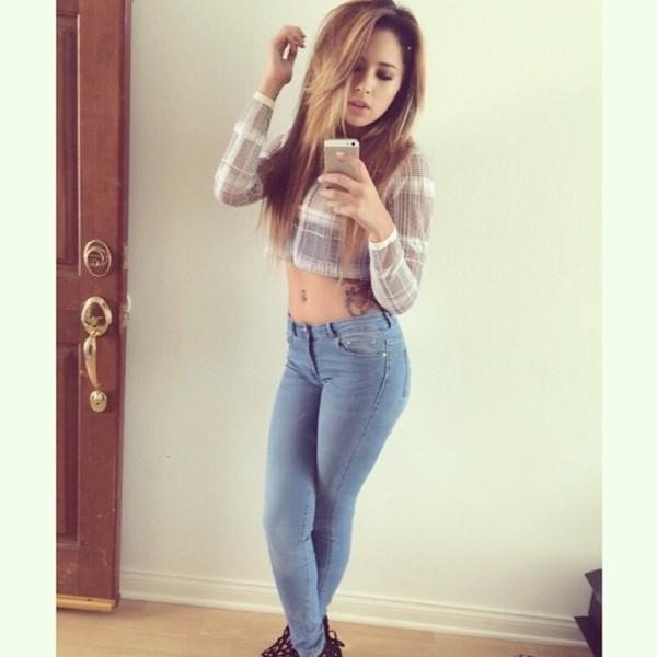 Plaid Jasmine V Instagram Long Sleeves Long Sleeve
