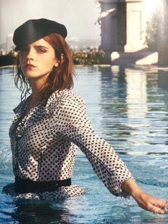 blouse polka dots hat emma watson editorial