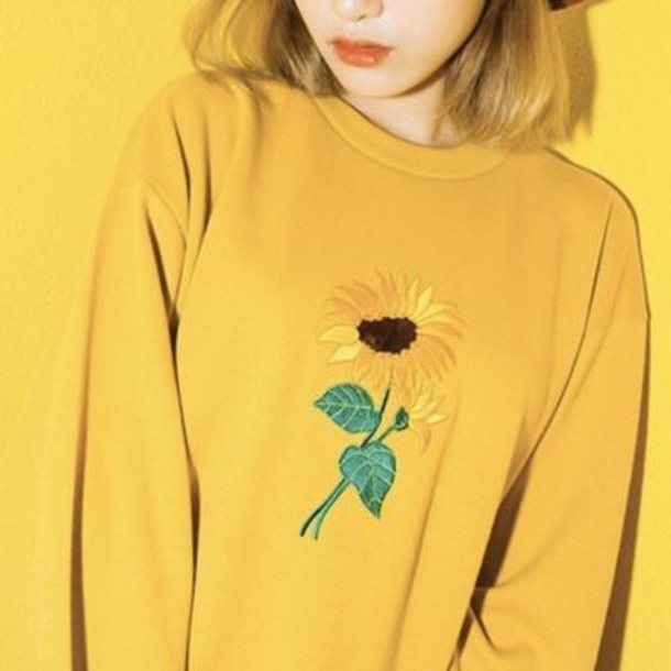 a67f99b1f559 shirt yellow flowers country perfect sunflower long sleeves fall outfits  sweater late summer cool lovely