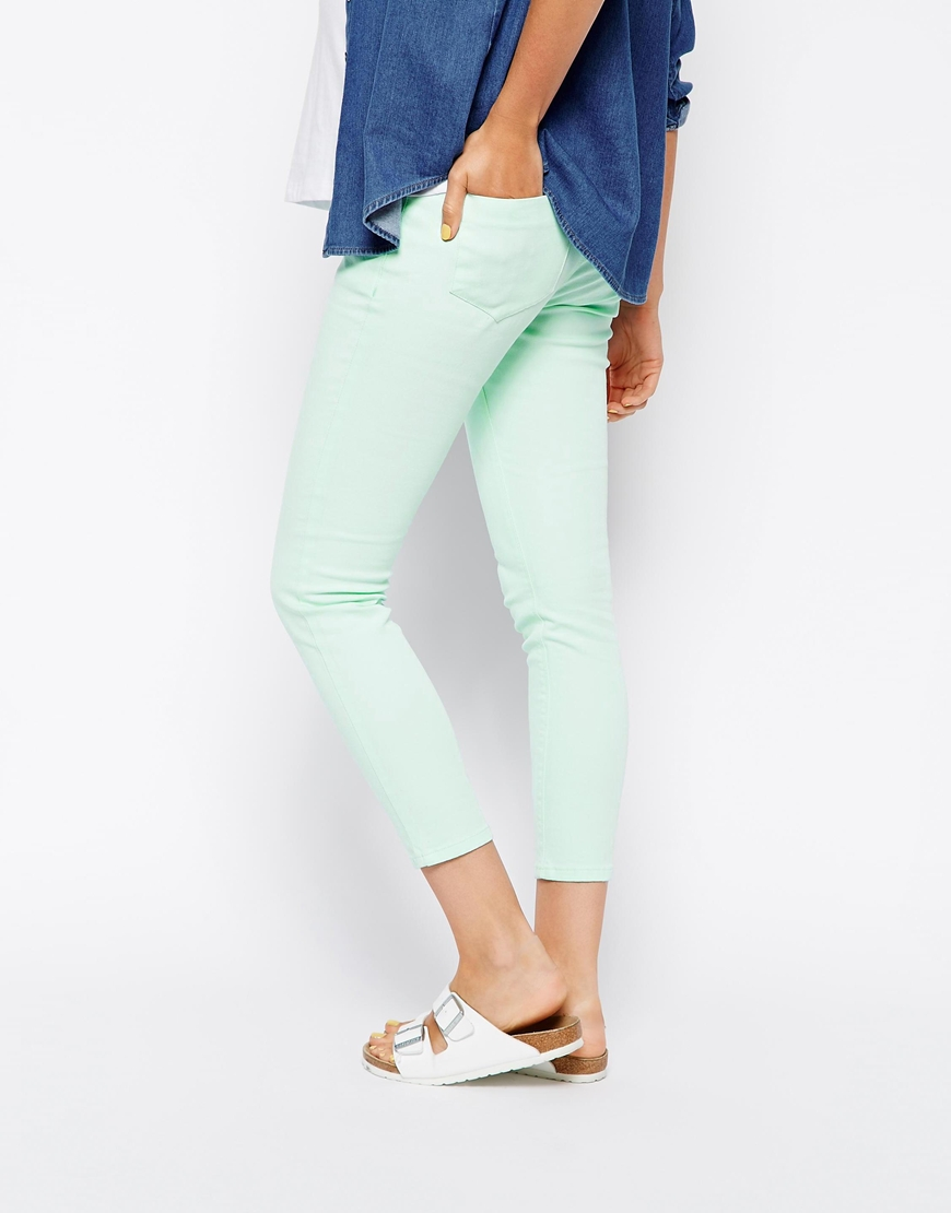 ASOS Maternity Ridley Skinny Ankle Grazer Jean in Mint with Under the Bump Waistband at asos.com